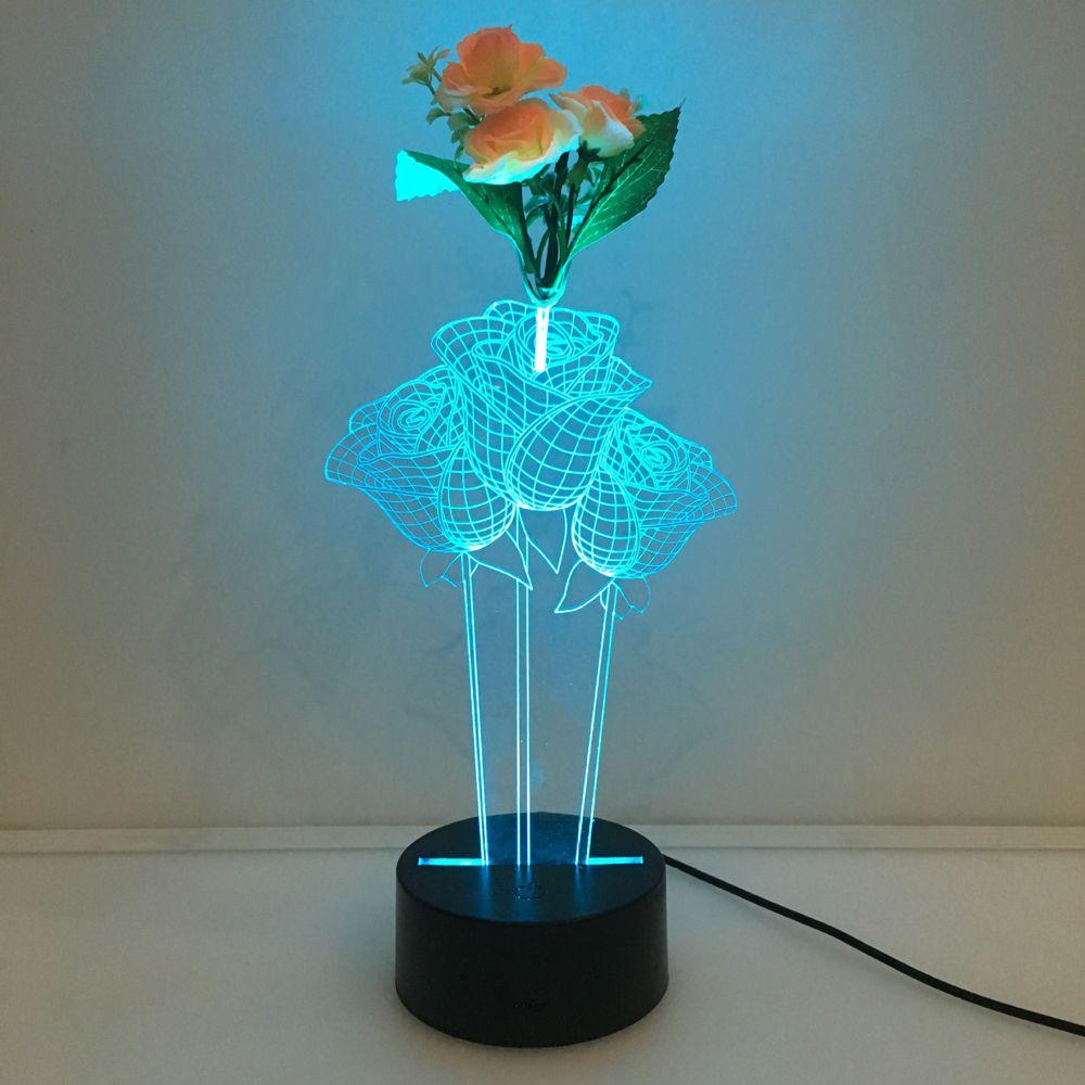 مصباح الليل الوهم ثلاثي الأبعاد مع زهرة مزينة بأضواء ملونة بسعة 7 RGB مدعوم من بطارية تعمل باللمس
