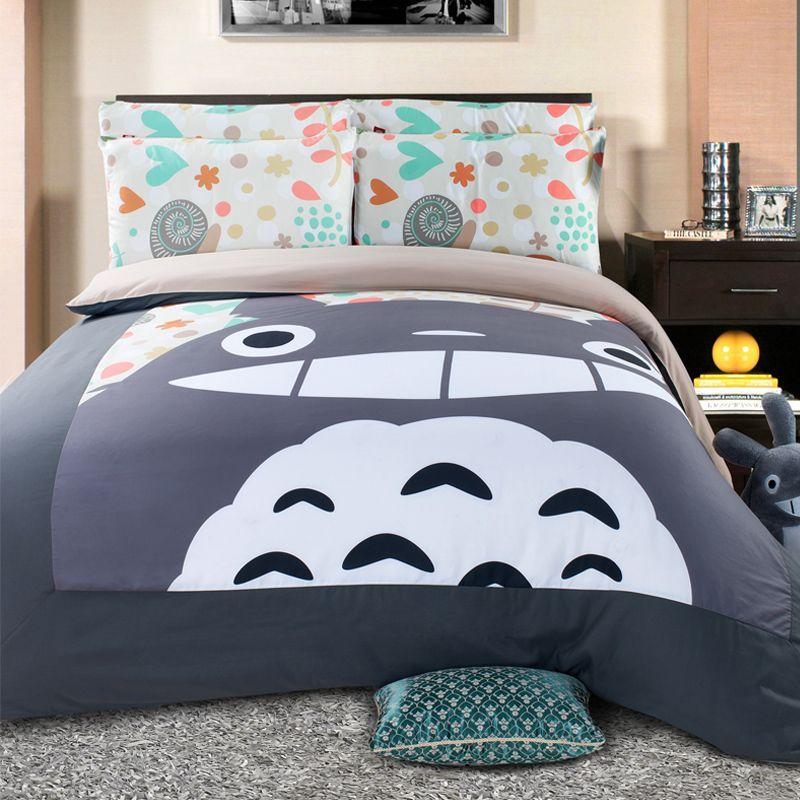 Christmas Cartoon Totoro Comforter Set 3D Print Duvet Bedding Cover Multi-Choice H0031 Pillow Cases Quilt Cover Bed Bedding Set