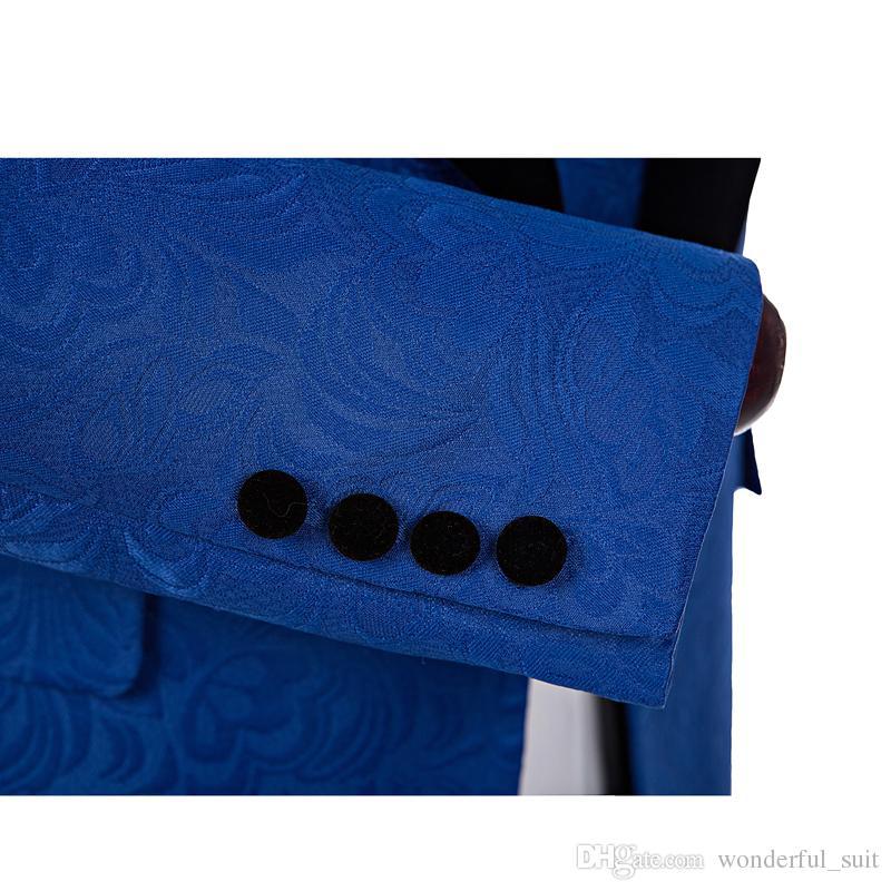 2017 Black Shawl Lapel Slim Fit Groom Tuxedos Royal Blue Men Suits Latest Coat Pant Designs Men Wedding Suit Jacket+Pants+Vest