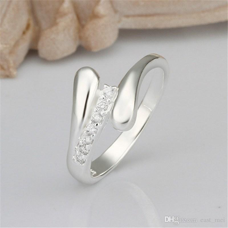 Hot sale Two lines plated sterling silver finger ring fit women,wedding white gemstone 925 silver plate rings Solitaire Ring ER320