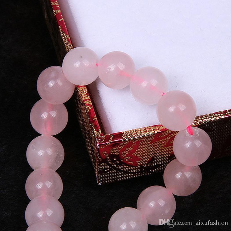 Natürliche Rosa Kristall Stein Perlen Für Schmuck Machen Rosa Quarz Stein Runde Perlen DIY Armband 4/6/8/10/12 / 14mm Strang 15 ''