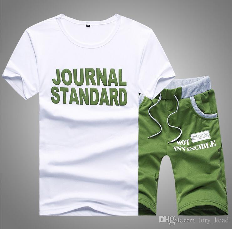 Causal Male set Tuta da uomo T Shirt 2 PZ! Bicchierini del bicchierino del manicotto del bicchierino di stile di estate del vestito di nuovo modo da uomo