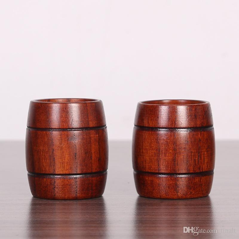 Taza de madera Hecho a mano primitivo Tipo Barril Natural Cerveza Leche Té Taza de café Friendly Drinkware IC675