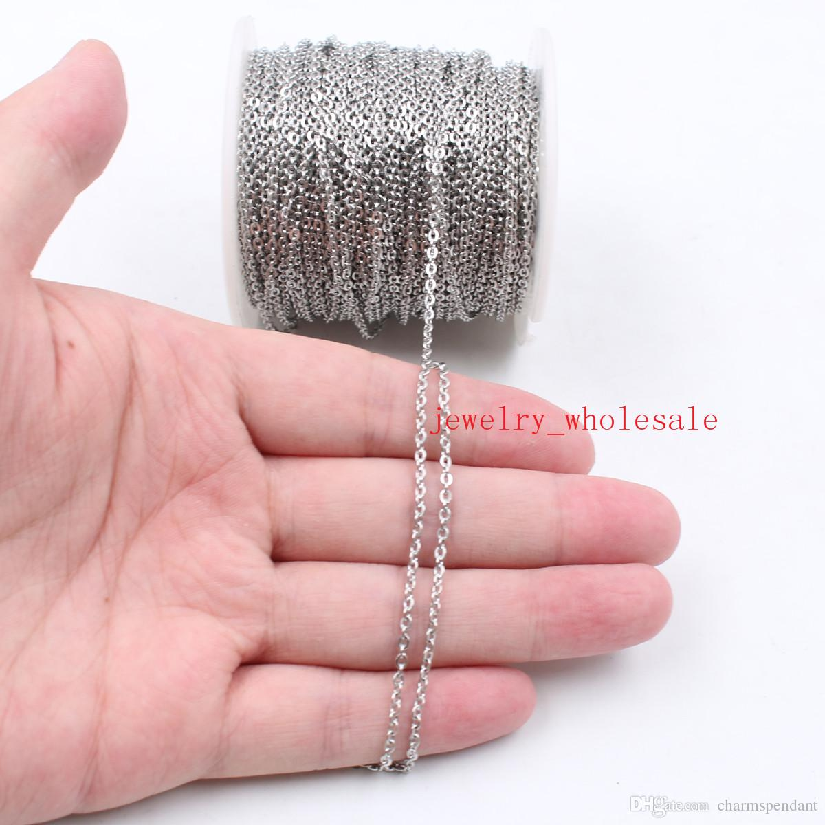 50meter/ Roll Large wholesale in bulk Jewelry Finding Chain silver Stainless Steel strong Flat Oval Rolo Cross Chain FIT pendant DIY