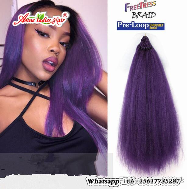 1pack Synthetic Fiber Pre Loop Yaki Straight Crochet Hair
