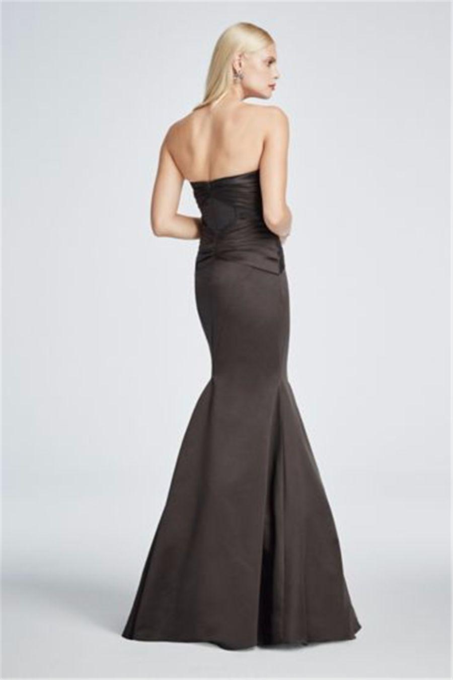 großhandel lange trägerlose satin fit und flare abendkleid zp285036  schwarze rüschen mieder mermaid abendkleid zurück zip party kleider von
