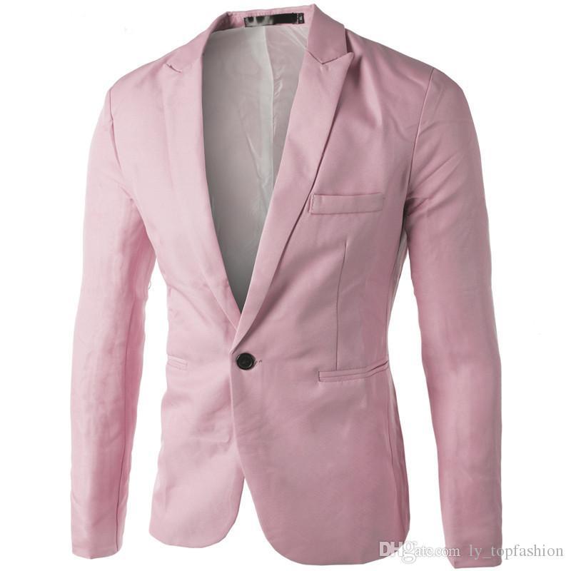 Brand New Blazer Hommes Costume Veste Homme 2017 New Hot Mens Slim Fit Causal Blazer Veste Rouge Noir Rose Costume pour Hommes 3XL