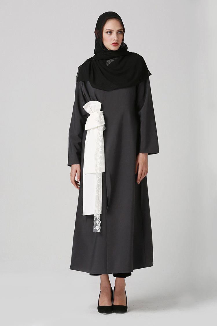 Цена По Прейскуранту Завода-Изготовителя Мусульманские Женщины С Длинным Рукавом Черный Кафтан Платье Исламский Арабский Стиль Кружева Лук Джилбаб Платье