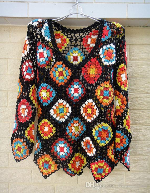 Großhandel Handgemachte Oma Square Langarm Boho Crochet Bluse Hippie ...