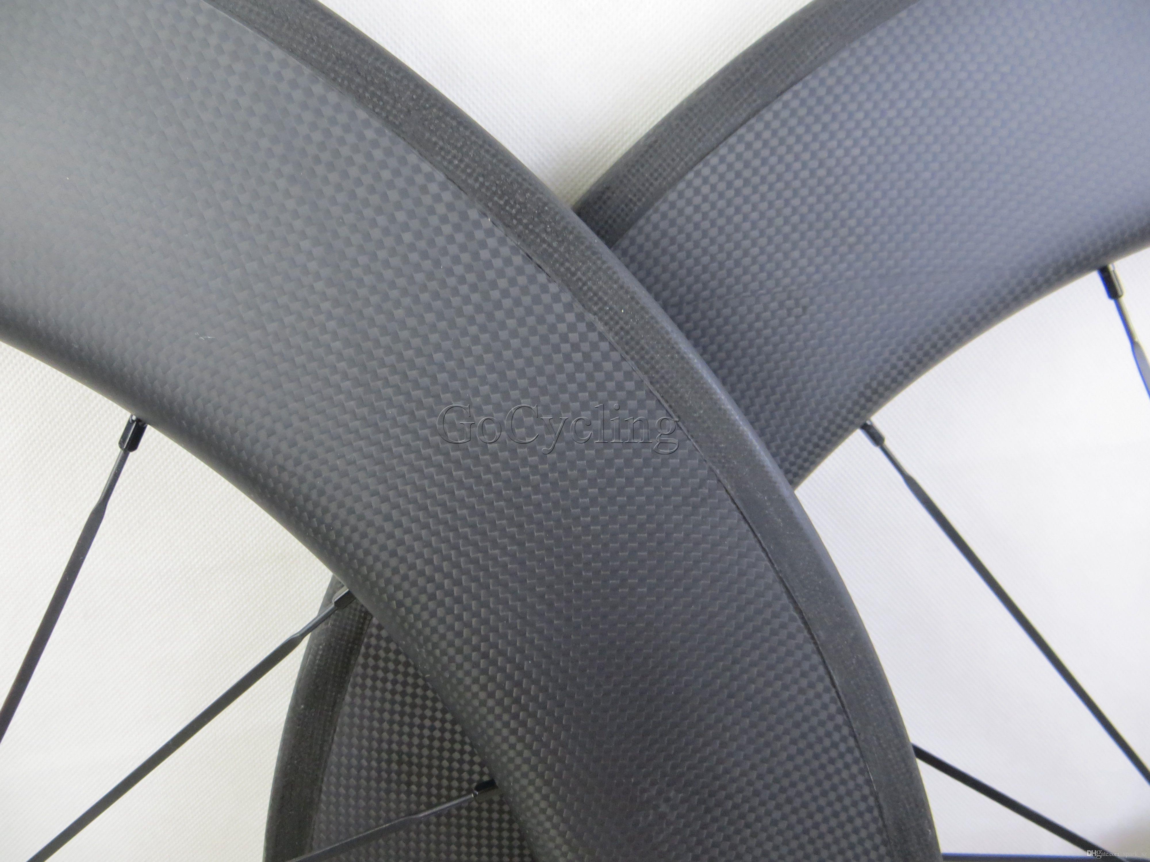 탄소 자전거 바퀴 Novatec 허브와 함께 90mm 3K 무광택 데칼 스티커 현무암 브레이크 표면 clincher 관형 도로 사이클링 자전거 바퀴 세트