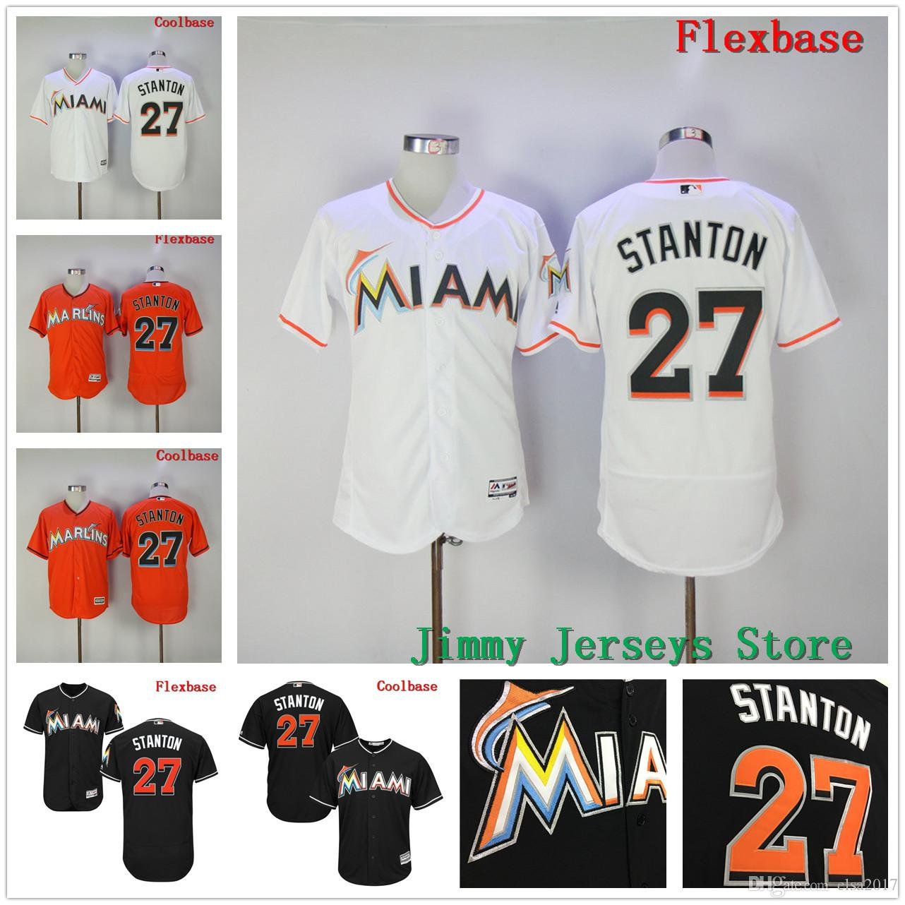 24372683d16 ... Black White Orange Gray 2017 2017 New 27 Giancarlo Stanton Jersey Flex Base  Cool Base Mlb Stitched Miami Marlins Jerseys ...