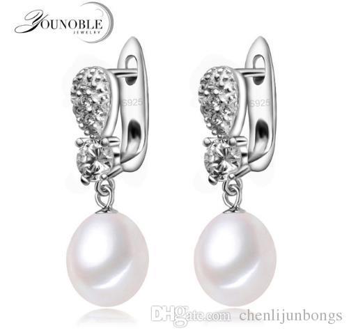 YouNoble vero orecchino in argento 925 con perle le donne, orecchini goccia d'acqua dolce perla orecchini matrimonio matrimonio mamma figlia regalo di compleanno