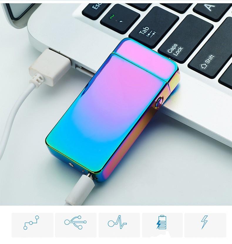 USB электрический двойной дуги металла беспламенного Факел аккумуляторная ветрозащитный зажигалка двойной крест Ligthers курить легче