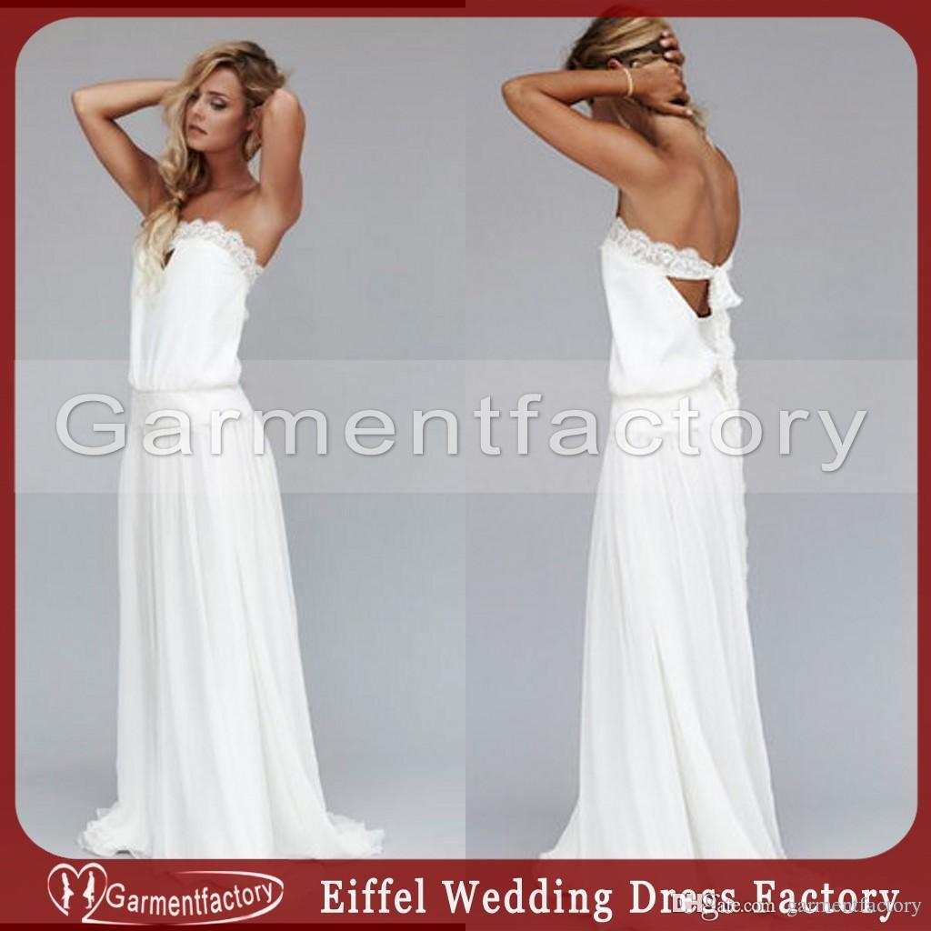 Discount Vintage 1920s Boho Wedding Dresses Strapless Dropped ...