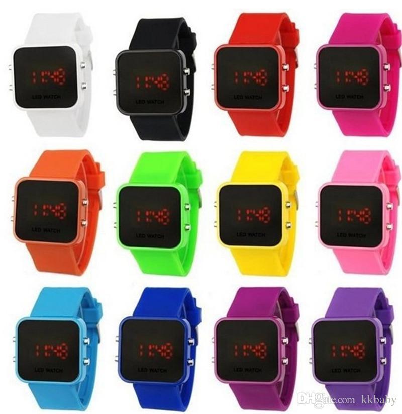 Art- und Weisefrauen-Damen-Spiegel-Verfassungs-Uhr-Plastikgummi-Gelee-Silikon-Digital-Datums-Kalender-Unisexsport-Uhren