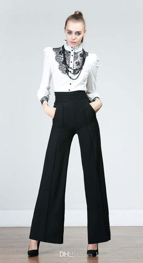 Womens Career Wide Leg Long Pants OL Loose Casual Black Slim High Waist Flare Vintage Palazzo Trousers S-2XL P10