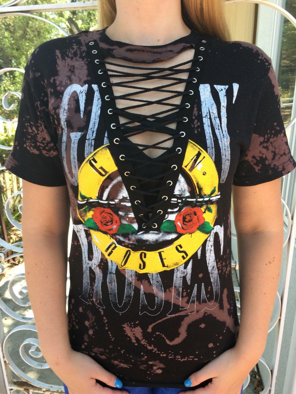 Design t shirt europe - 2017 Fashion T Shirt Europe And Amirican Gnr And Rose Short Sleeves V Neck Bandage T Shirts Big Girls Guns N Roses Corn Eyes T Shirts Tops Buy Cool Shirts