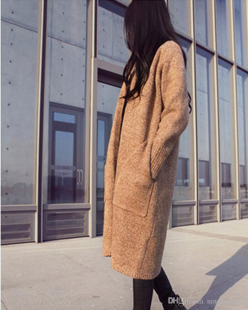 2019 New Autumn Winter Long Cardigan Women Sweater Women Solid Ladies Long Sleeve Knitted Cardigans Sweater Jacket Sexy Coat