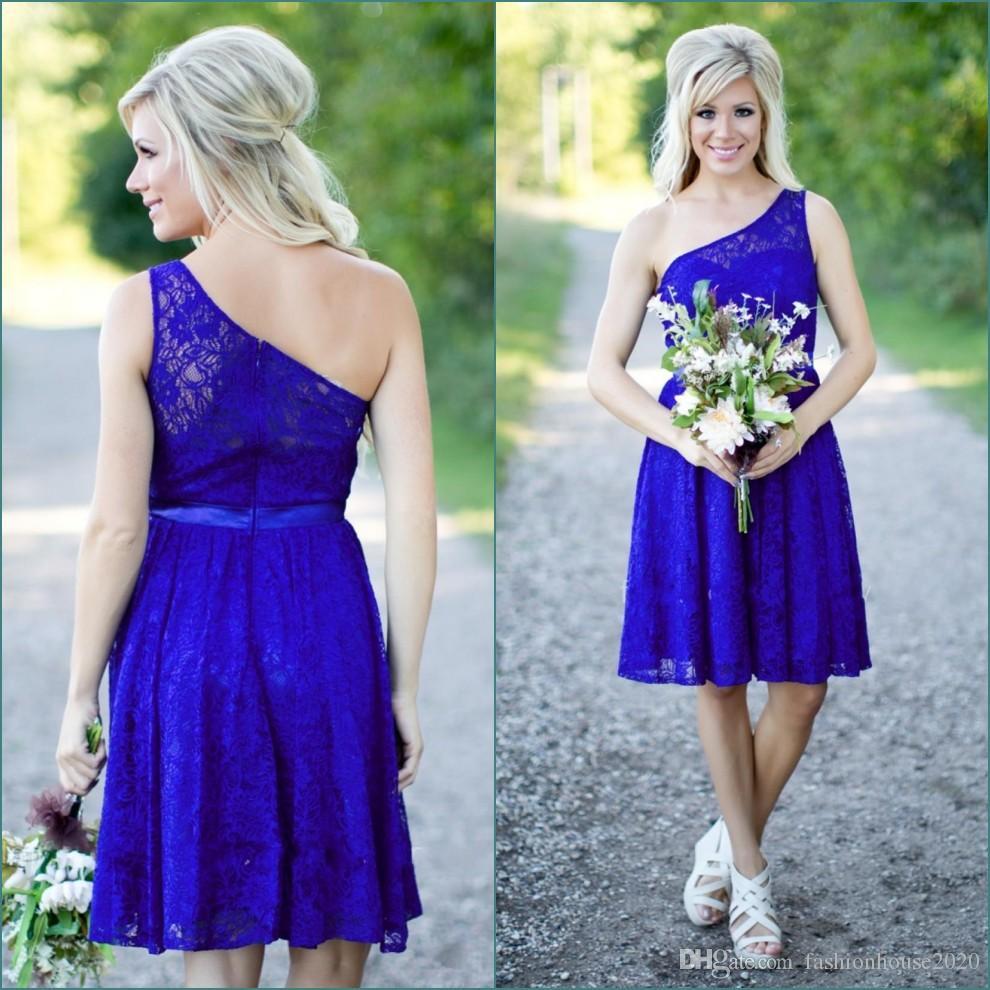 Großhandel Royal Blue Lace Short Brautjungfer Kleider 2017 Eine ...