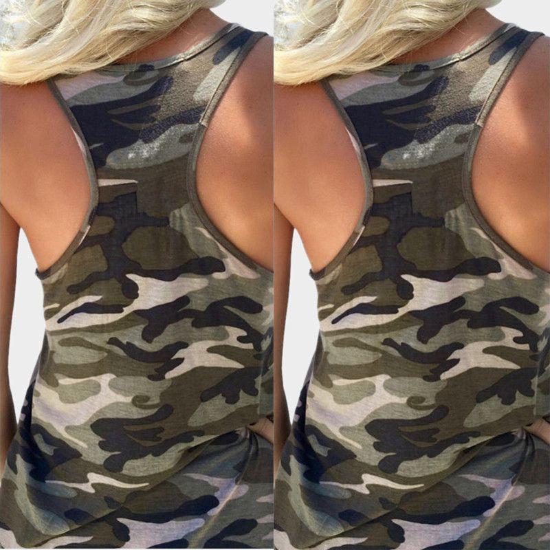 المرأة عارضة كامو الجيش الشمس 2017 الأزياء التمويه طباعة تانك القمم الصيف أكمام سكوب الرقبة سليم تي شيرت مثير الصدرية S-5XL