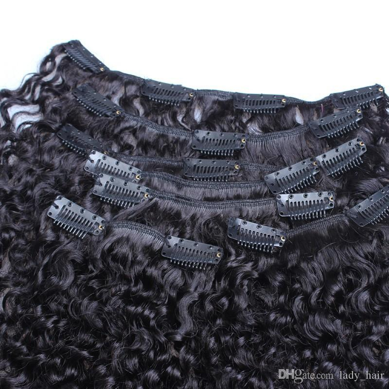 "Clip In Human Hair Extensions Afro Kinky Curly Indian Hair Clip Ins 10""-26"" Kinky Curly Human Hair Clip In Extensions 120g"