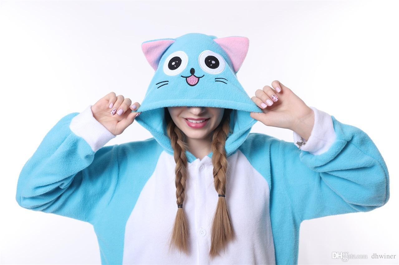 Взрослый Косплей Аниме Мультфильм Onesie Pyjamas kigurumi Костюмы на Хэллоуин Пижамы Happy Habib Cat