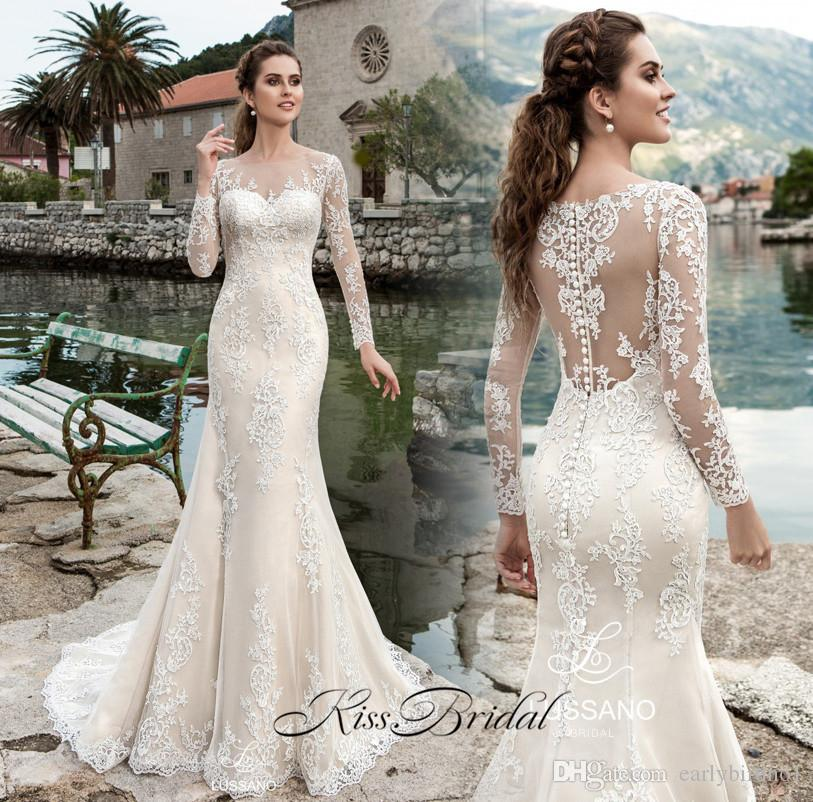 New Sexy Long Mermaid Wedding Dresses 2017 Boat Neck Button Back Sleeves Court Train Lace Bridal Gowns Vestido De Novia Dress