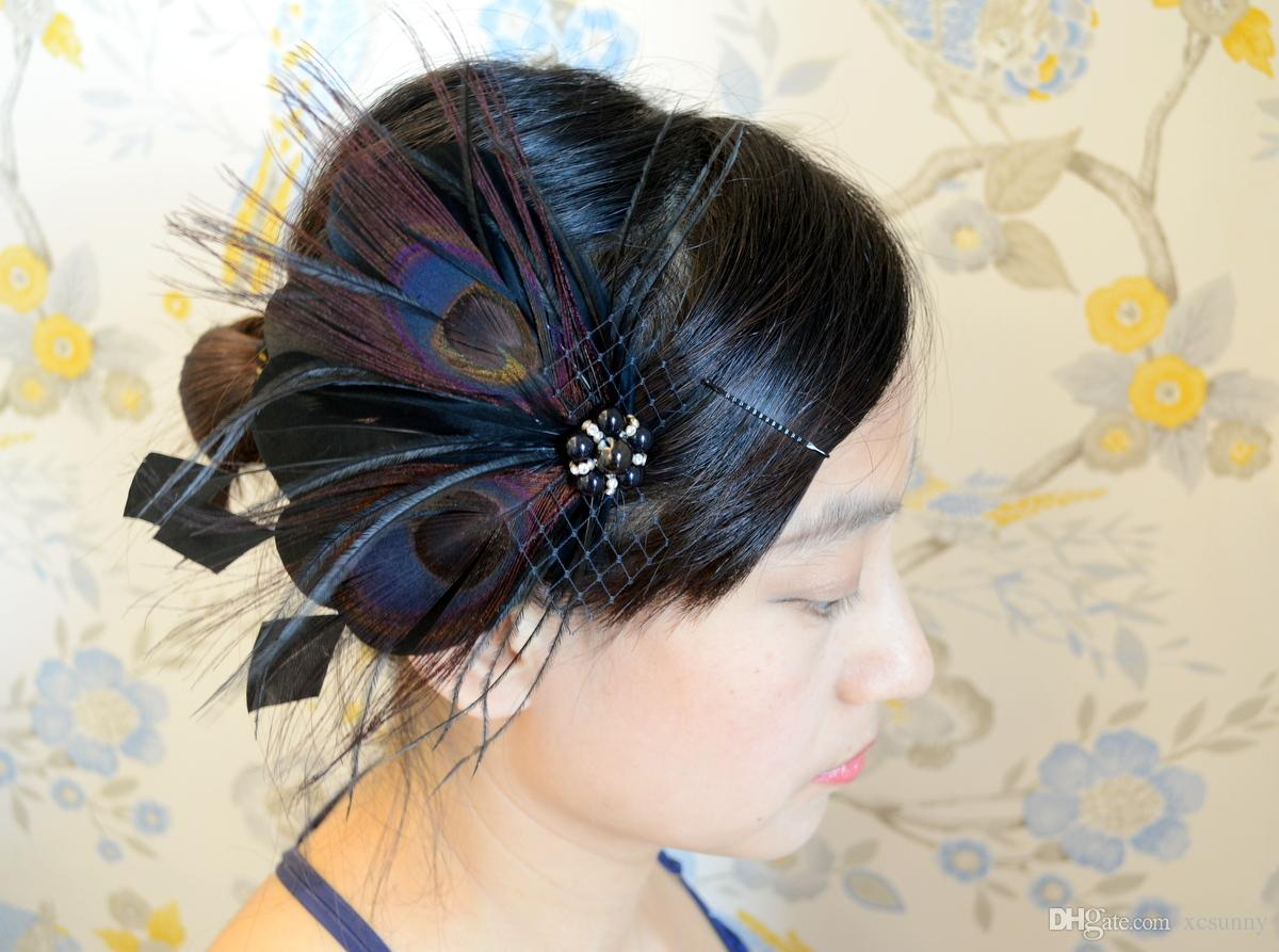 2509bf07252 Natural Brown Bridal Feather Fascinator With Black Crystal Wedding Feaather  Headpiece Bridal Feather Hair Accessory IRISF004 Decorative Hair Ties  Decorative ...