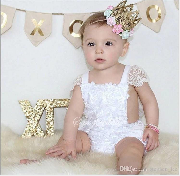 Cute Baby White Lace Dress Rompers 2017 New Summer Infant Girls Cotton Princess Jumpsuits Toddler One-Piece Onesies Newborn Clothes 0-24 M