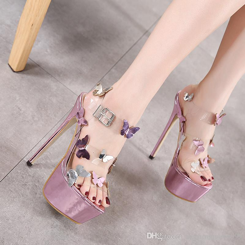 16 см высокий каблук сандалии европейский / американский сексуальный Пип-toe стилеты водонепроницаемый бабочка цвет соответствия одно слово cingulate фиолетовый прозрачный