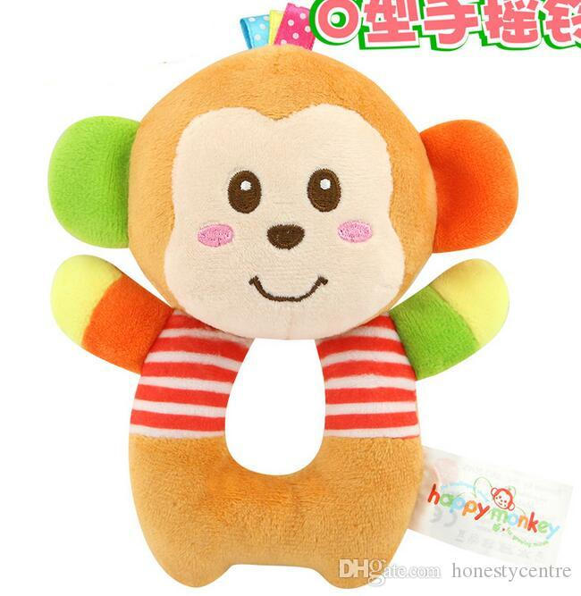 Newborns Infant Baby toy kids gift Elephant Lion Bear Animal Shaped Catoon Hand Bell Ring Rattles Kid Plush Soft Toy