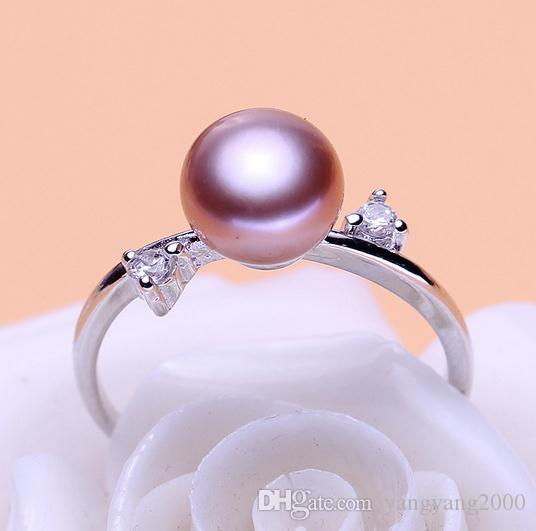 Wholesale 8-9mm white pink purple three colors oblate Natural pearl ring 925 silver JZ0036