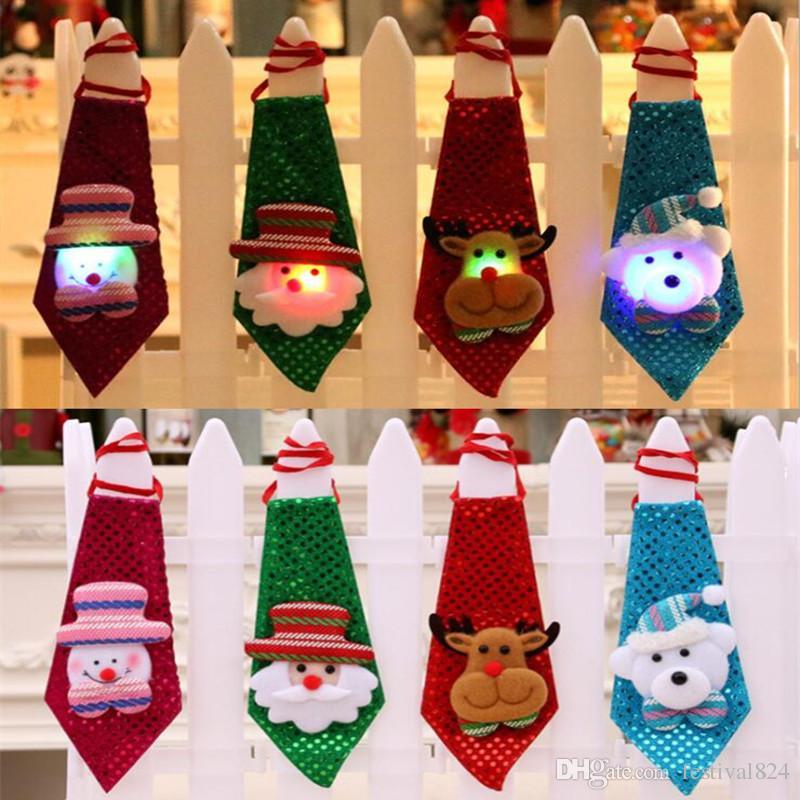adults children sequins led necktie light up neck tie luminous flashing santa claus elk party favor gift christmas club bar stage supplies led necktie