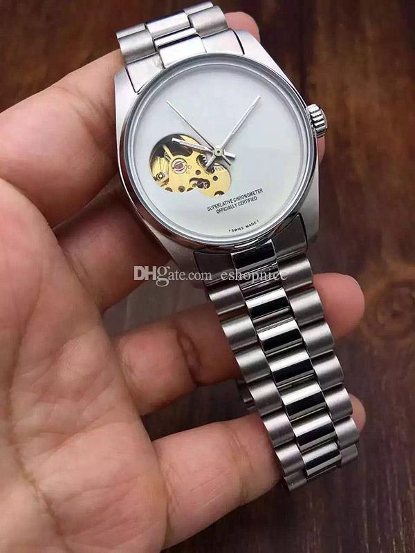 Hot Homens Relógios De Luxo Assista Marca de Aço Inoxidável banda Skeleton Dial Mecânico Automático Relógio de Pulso de Presente de Negócios Para Relógios Dos Homens relojes