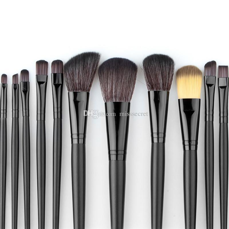 32 adet Profesyonel Kozmetik Yumuşak Kaş Göz Farı Eyeliner Dudak Pudra Fondöten Fan Fırça Aracı Makyaj Fırçalar Seti Kiti ile Deri Çanta