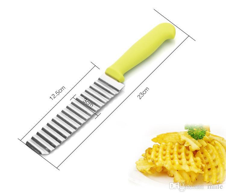 Trituradores de Batata de alta Qualidade Fatiador de Aço Inoxidável Cortar Ondas de Batata Forma Crinkle Chips de Vegetais Acessórios Da Faca de Cozinha