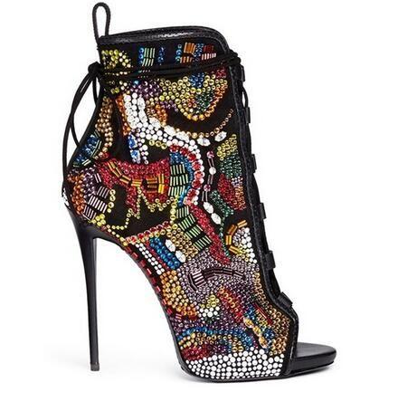 2017 weiches Leder Lace Up Frauen Stiefeletten Schuhe Frau Multi Strass Abgedeckt High Heels Frauen Sandalen Stiefel Zapatos Mujer