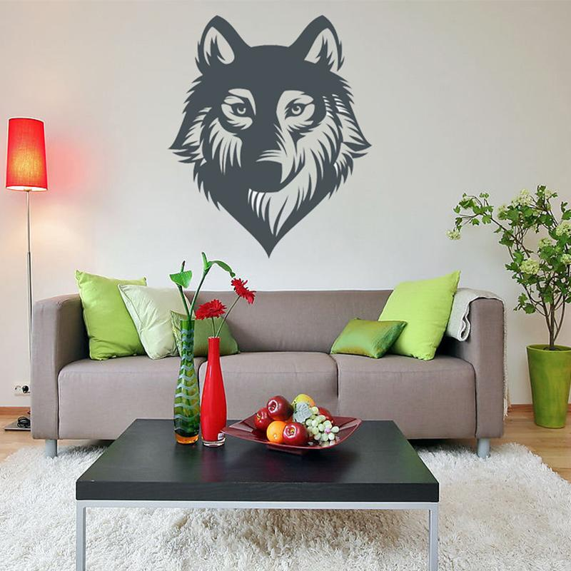 Wolf wall decoration wild life vinyl decal wolf wall tattoo for car truck wall art decor diy home decoration wall decals sayings wall decals sticker from
