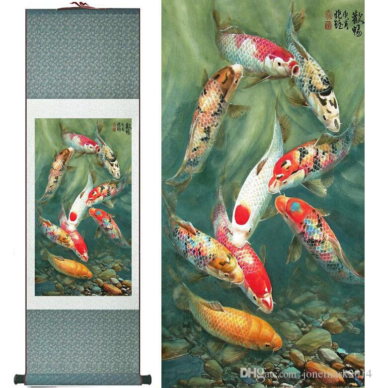 Fish painting Silk scroll paintings traditional art Chinese painting Feng shui Wall Art Scroll Hang Picture