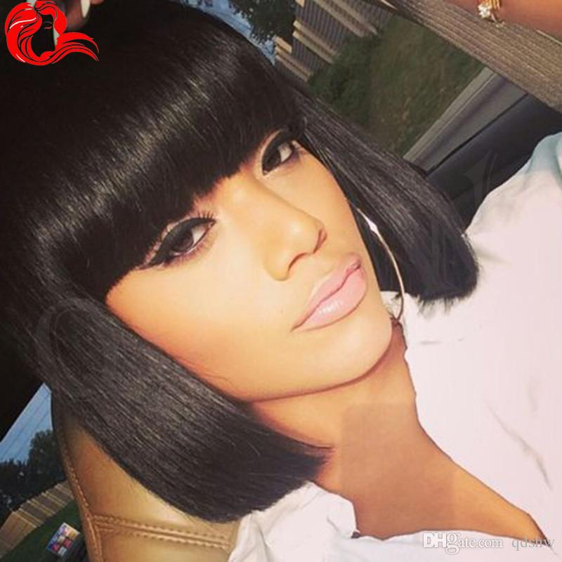 Short Human Hair Wigs Bob Style Straight Peruvian Virgin Hair For Black Women Glueless Lace Front Bob Wigs With Bangs