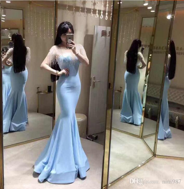Shinning wrap light blue mermaid Evening Dresses 2017 High quality real image bling bling crystal formal Evening Gowns