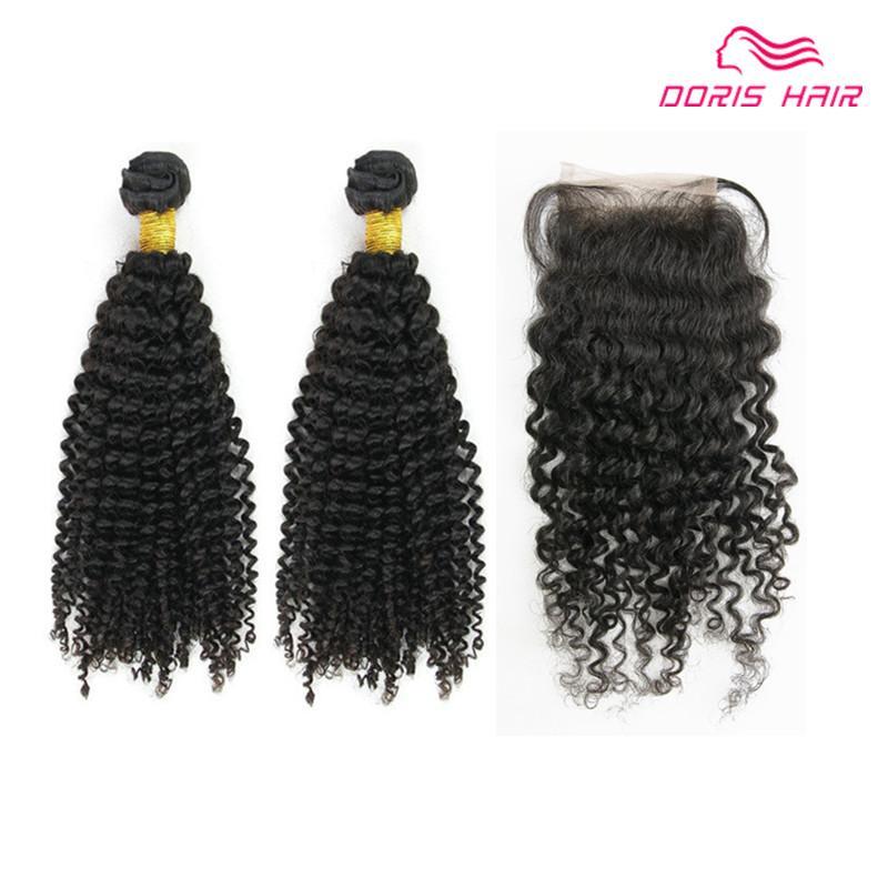 Las ventas grandes cierran el cordón con 2 paquetes de la armadura del cabello humano KINKY CURLY brasileño indio virgen chino remy productos de trama de pelo se pueden teñir