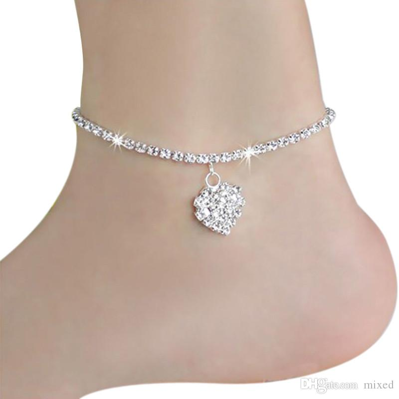 Anklets Womens Heart Ankle Bracelet Silver Crystal Anklet Charm Leg Chain Jewellery Gift