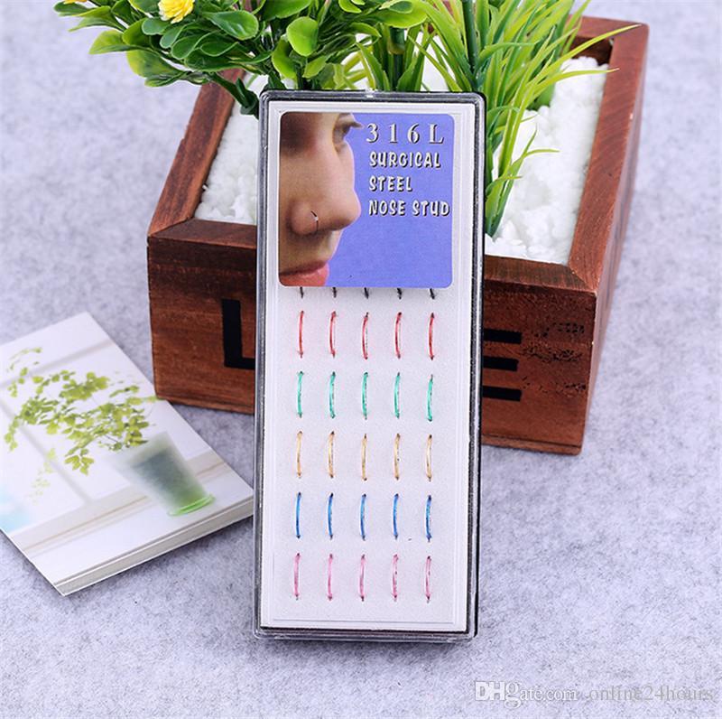 8 mm de acero quirúrgico fino pequeño anillo de nariz de plata aro de 0.8 mm 40 unids perforación del cartílago Stud para novio novia regalo de cumpleaños