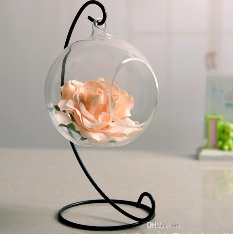 Halter für hängende Glasvase für Blumen Microlandschaft Metallvasen Stand Creative Supporter für runde Flaschenvase Hot Sale