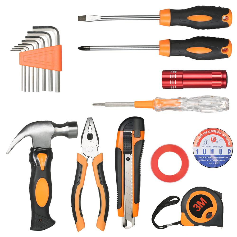18pcs Hand Tools set household appliances Electrical Maintenance Repair Tool wrench + screwdriver + knife + Hammer with tool box