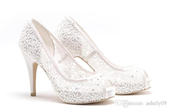 Kadın İlkbahar Yaz Güz Platformu Düğün Stiletto Topuk Platform Siyah Pembe Fildişi Beyaz