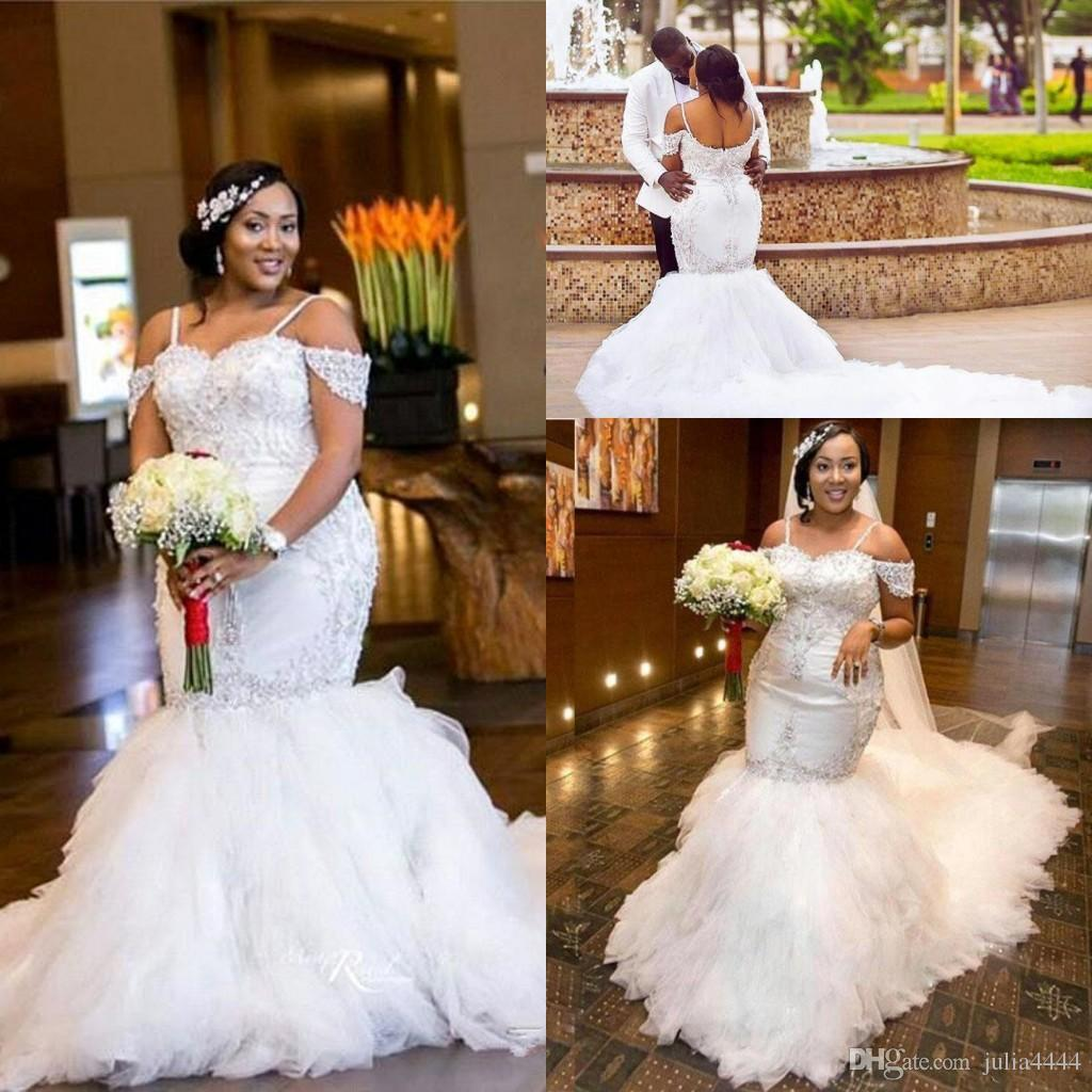 African Mermaid Wedding Dresses Plus Size Sexy Off Shoulder 2018 Sparkly Crystal Cathedral Train Arabic Dubai Lace Bridal Gowns Dress With: Pluss Size Wedding Dresses At Websimilar.org