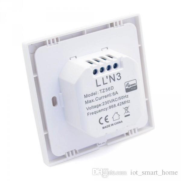TKB Gen5 Novo interruptor de parede de duplo relé Z-Wave para 2 cargas separadas com controle remoto via smartphone