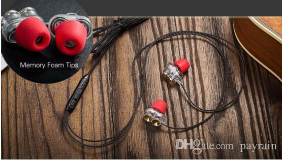 Ventas al por mayor-PayrainNew Hifi Auriculares super graves Estéreo Con cable de doble conductor Auriculares dinámicos PK Xiaomi Hybrid Pro auriculares para Iphon xiaomi THL